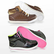 Womens Ladies New Casual Hi Top Fashion Flats Lace Up Ankle Trainers Shoes Size