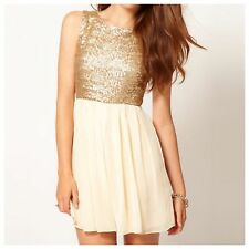 LADIES TFNC SEQUIN TOP DRESS SLEEVELESS GOLD-CREAM