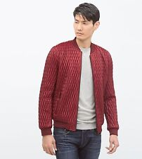 ZARA Man BNWT Red Quilted Bomber Jacket Zipped Coat S M L XL XXL 0706/304