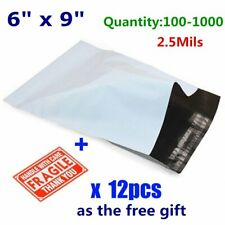 100-1000 6 x 9 Poly Mailers Shipping Envelopes Self Sealing Plastic Bags 2.5 Mil