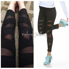 Women Mesh Stretch Panels Running Fitness Workout Sports Gym Yoga Leggings Pants