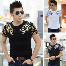 Casual Fashion Short Sleeve T-shirt Mens Slim Fit Tattoos Shirt Tops Tee DA
