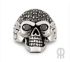 Biker Gothic Pirate Skull Ring 925 Sterling Silver with Zirconia