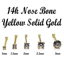 Bone 14k Gold Nose Rings With CZ Stud Prong