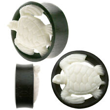 White Turtle Organic Ear Tunnel Plug Double Flare