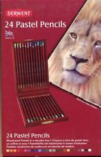 Derwent 24 Pastel Pencils wooden box case set NEW woodcased