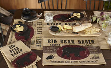 Lodge Cabin BIG BEAR BASIN 100% Cotton Table Runner, Placemats, Kitchen Towels
