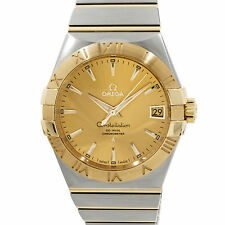Omega Constellation Yellow Gold Auto Date Steel Mens Watch 123.20.38.21.08.001