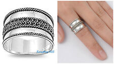 Sterling Silver 925 PRETTY HANDMADE BALI DESIGN SILVER BAND RING SIZES 5-13
