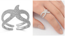 Sterling Silver 925 PRETTY STARFISH DESIGN SILVER BAND RING 14MM SIZES 4-10
