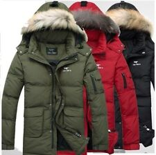 M-3XL Mens Thick Duck Down Hooded Warm Jacket Winter Long Parka Coat Overcoat Sz