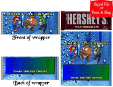 20 Personalized SUPER MARIO BROS. Full-Size Hershey Candy Wrapper Pre-Cut w/Foil