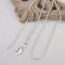 "925 Sterling Solid Silver SNAKE Chain Necklace 1mm 16"",18"", 20"", 24"" Wholesale"