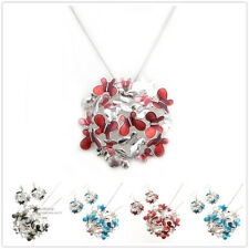 Special Offer, Butterfly Flower Silver Plated Pendant Earrings Set XC152