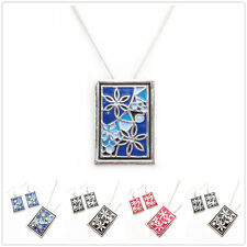 Special Offer, Coloured Glaze Flower Silver Plated Pendant Earrings Set XC153