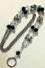 Crystal & Black  Lanyard w/ Swarovski™  Beaded  Badge ID Holder, Breakaway opt.