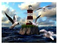 Custom Made T Shirt Beautiful Lighthouse Scene Ocean Seagulls Flying Water