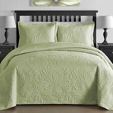 NEW Full Queen Cal King Size Bed Mint Green Coverlet Quilt Bedspread 3 pc Set