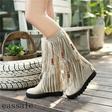 Womens faux suede beads mid hidden wedge heel round toe tassles mid calf boots