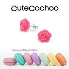 Kids sterling silver pink glitter red roses stud earrings + macaron gift box!