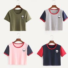 Fashion Womens Casual Crew Neck Short Sleeve Sexy Crop Tops Shirts Preppy Tank