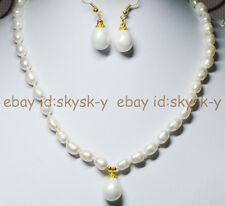 """7-9mm White Akoya Cultured Pearl & Shell Pearl Pendant Necklace 18"""" Earrings AAA"""