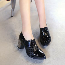 Pointed Toe Pumps Women's Patent Leather British High Heel Slip On Shoes US4-13