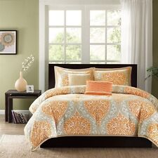 NEW Twin XL Full Queen Cal King Bed Orange Tan Damask 5 pc Comforter Set Elegant