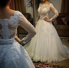 2015 New Lace A-Line Wedding Dress Bridal Gown Custom Size 6-8-10-12-14-16-18+