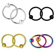 2x 16G Captive Bead Ring Surgical Steel Lip Nipple Nose Hoop Earrings Piercing