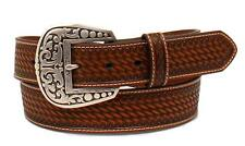 Ariat Western Mens Belt Leather Weave Overlay Diamond Concho Tan A1025808