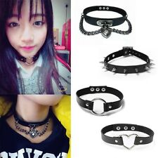 Retro Punk Gothic Leather Choker Heart Chain Spike Rivet Buckle Collar Necklace