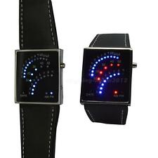 Beautiful Fan Style 29 Red Blue LED Digital Date Men lady Wrist Watch Black AI1G
