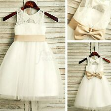 New Bridesmaid Pageant Birthday Wedding Party Gown White Flower Girl Dress 2T-12
