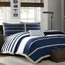 NEW Twin XL Full Queen Bed Navy Tan White Stripe 4 pc Comforter Set Bedding NWT