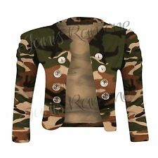 New Women Army Camouflage Print Military Button Ruched Bolero Shrug Cardigan Top