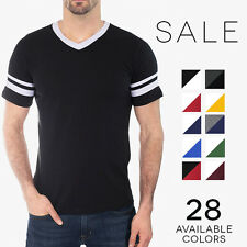 Augusta Sportswear Striped Baseball V-Neck Tee Vintage T-Shirt 360