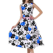 Womens Long Vintage 1950's Floral Spring Garden Party Cocktail Swing Dress