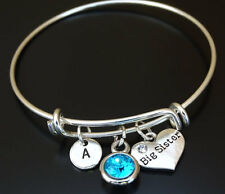 PERSONALIZED Big Sister Bangle Bracelet - choose your Initial and Birthstone