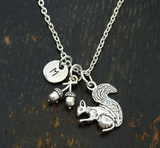 PERSONALIZED Squirrel Necklace - choose your Initial, Squirrel Girl, Animal