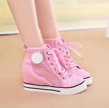 Womens Fashion Casual  Hidden Wedge Heel Lace Up Sneaker Athletic Tennis Shoes