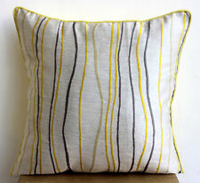 Yellow Waves - Yellow Jacquard Weave 40x40 cm Throw Cushion Covers