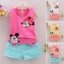 Baby Kid Girls Boys Cartoon Mickey&Minnie Summer Vest Top Short Pants Set Outfit