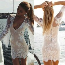 Women Sexy Sheer Lace Crochet Boho Short Dress Evening Party Casual Beach TP