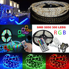 5M 10M RGB 5050 SMD 300 Leds Strip LED Flexible Light 12V Remote Power Adapter