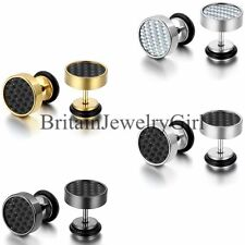 One Pair 9mm Wide Men's Stainless Steel Carbon Fiber Ear Studs Cool Earrings