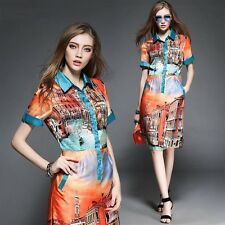 New Womens colorful  Shirt dress Charming Party Evening Dresses Elegant Sweet