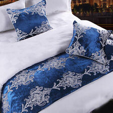 Bed Runner Cotton Bedroom Decorative Bedding End Scarf Pillowcase Blue Flower