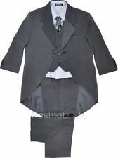 Boys Suits 5 Piece Grey Tails Suit Formal Wedding Pageboy Suits  0-3 mths-15 yrs