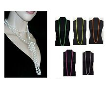 Long Rope String  Bead Necklace Round Bead 1 Strand Wrap Necklace Neon & Classic